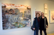 """Melissa Furness and Susanne Mitchell in front of """"Muliebrity,"""" acrylic and oil on canvas, 54 x 66.5"""""""