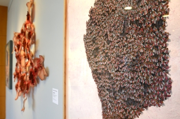 """Sarah Wallace Scott, """"Our Swarm,"""" colored pencil on handmade recycled paper, 34 x 34"""""""